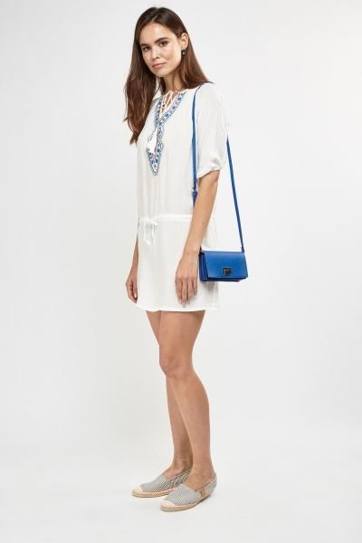 Embroidered Tie Up Tunic Dress