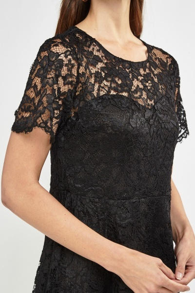 Lace Overlay Sweetheart Dress