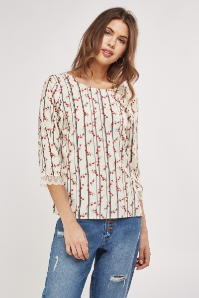Lace Trim Insert Blouse