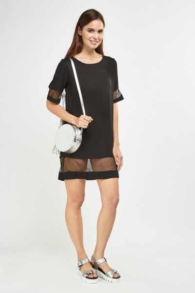 Mesh Sheer Contrast Shift Dress