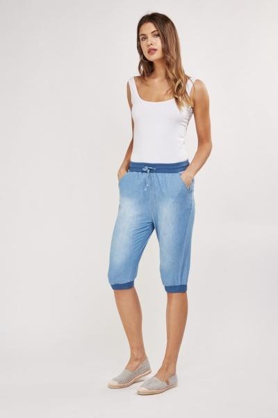 3/4 Length Long Line Denim Shorts