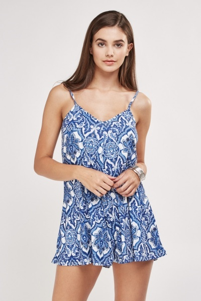 Arabesque Print Frilly Playsuit