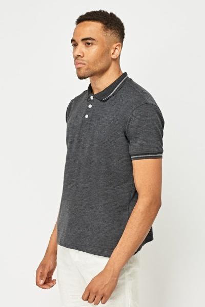 Button Neck Short Sleeve Polo