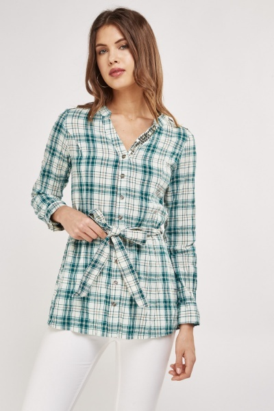 Embellished Detail Plaid Shirt