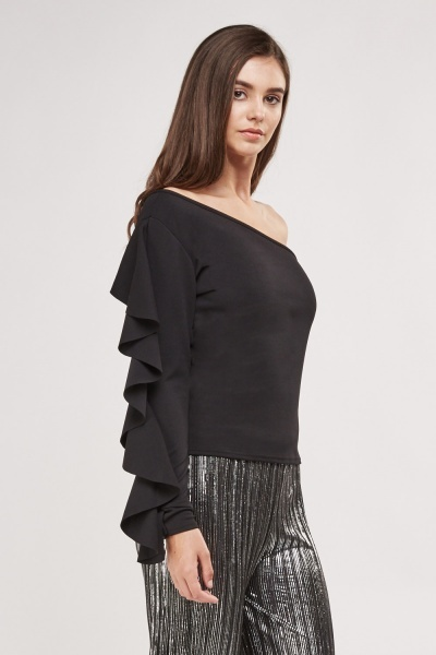 Frilly One Shoulder Sleeve Top