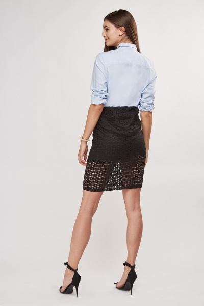 Lace Overlay Mini Skirt