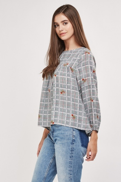 Mixed Houndstooth Print Blouse