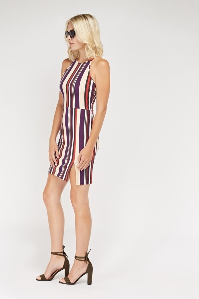 Candy Striped Bodycon Dress