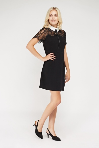 Collard Lace Insert Dress