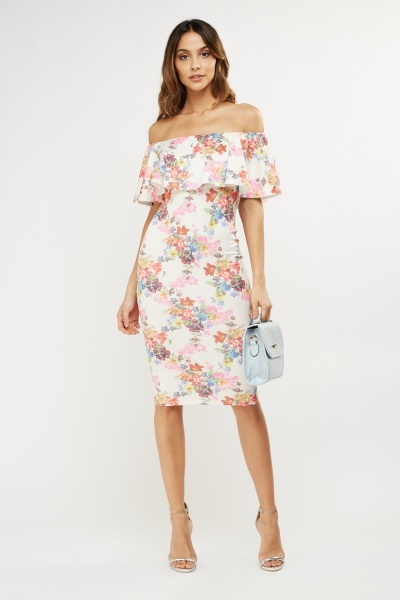 Frill Floral Off Shoulder Dress