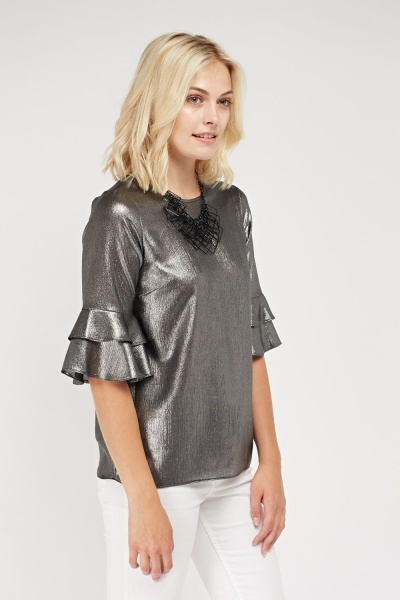 Layered Sleeve Metallic Top
