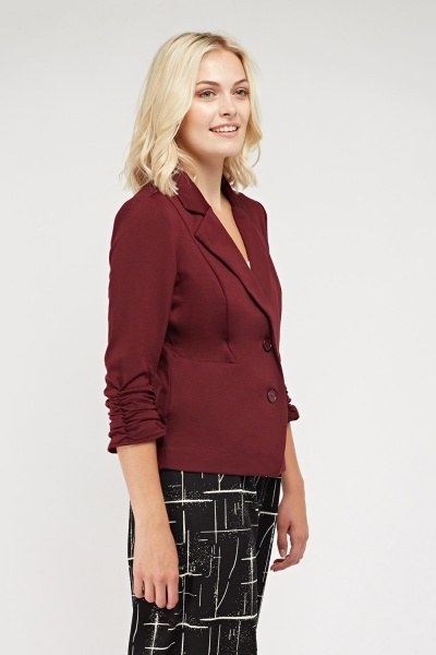 Ruched Sleeve Lapel Front Blazer