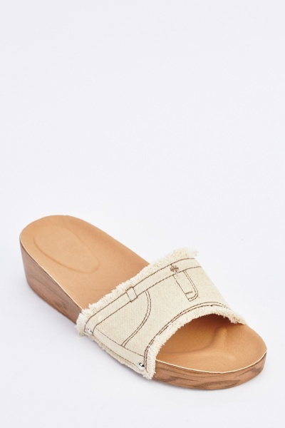 Denim Fringe Trim Wedge Slides