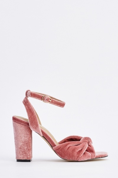 Knotted Velveteen Heeled Sandals