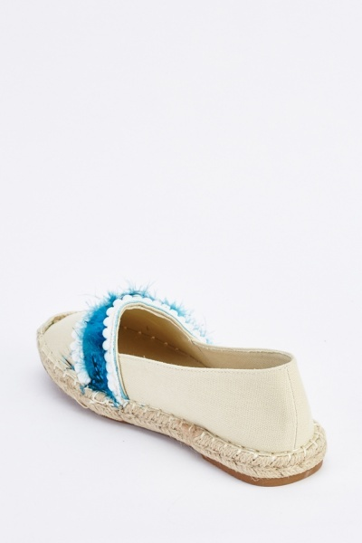 Pom-Pom Feather Shell Trim Espadrilles