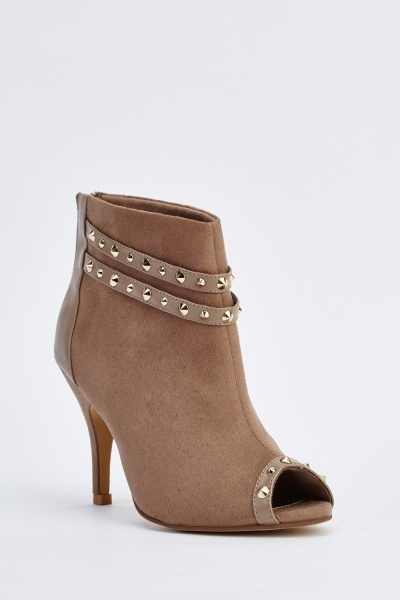 Studded Open Toe Ankle Boots