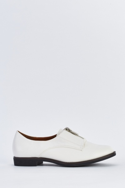 Zip Front Faux Leather Brogues