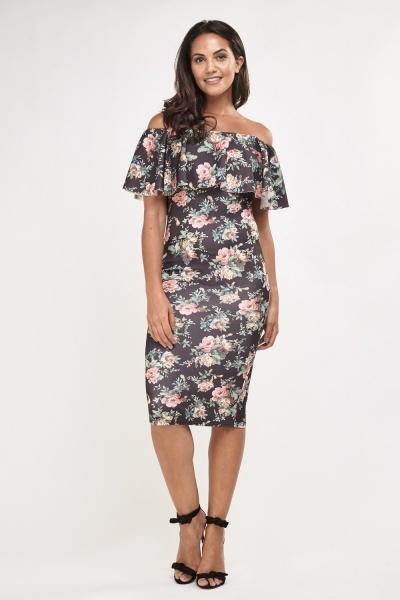 Printed Off Shoulder Ruffle Midi Dress