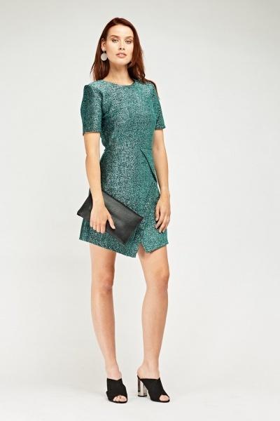 Asymmetric Metallic Textured Dress