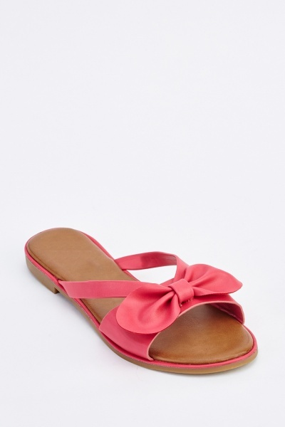 62e6ee6b36a6ab Bow Detail Slide Sandals - Just £5