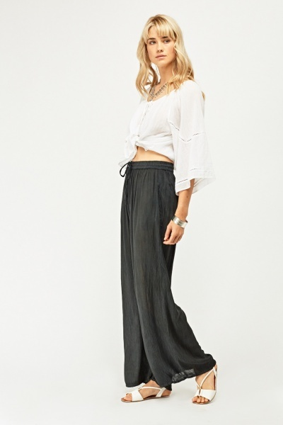 Crinkled Wide Leg Palazzo Trousers