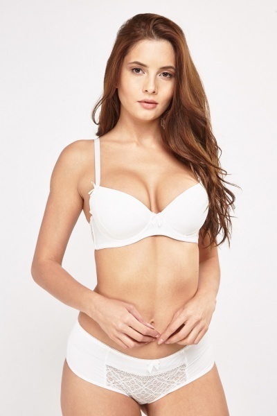 Basic Lace Insert Balconette Bra And Brief Set