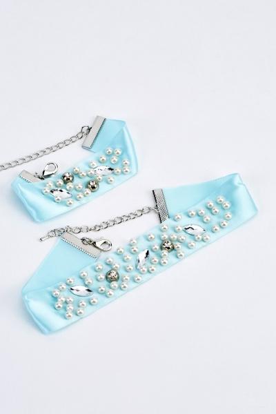 Embellished Choker Necklace And Bracelet Set