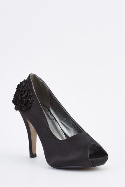 Bow Side Sateen Heels