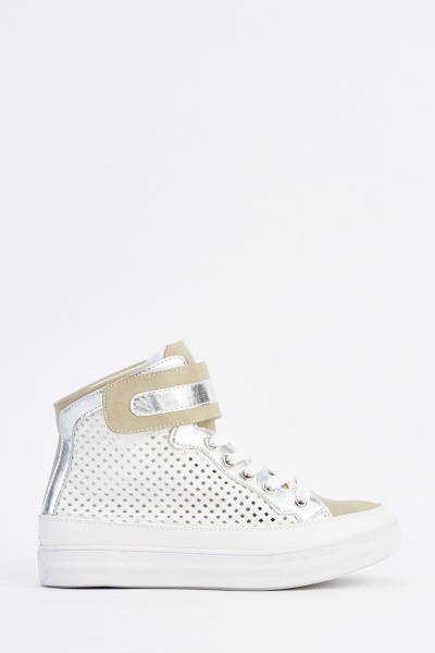 Laser Cut Metallic Contrast Trainers