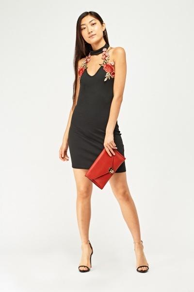 3D Applique Choker Neck Dress
