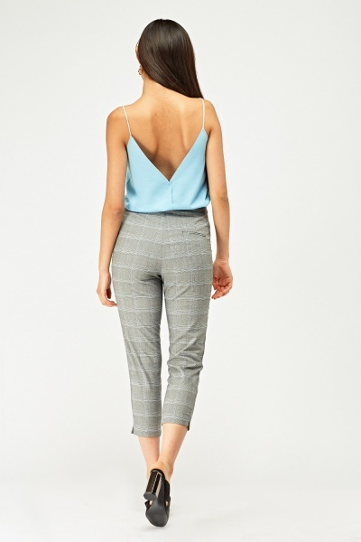Slim Fit Cropped Plaid Trousers Grey Just 163 5