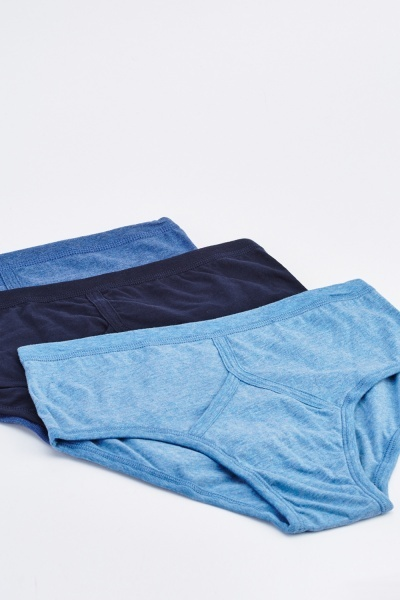 Mens Pack Of 3 Mixed Blue Boxers