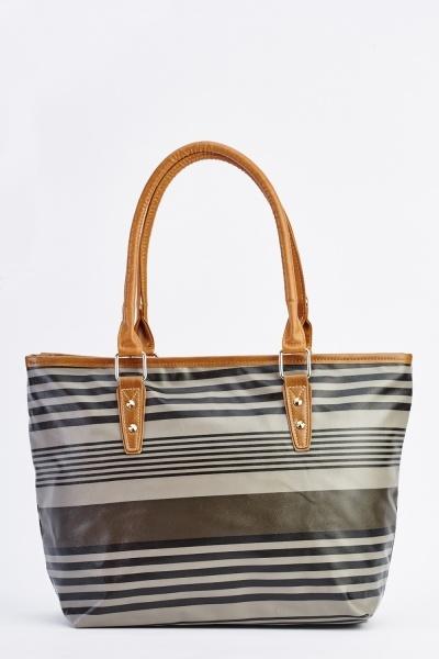 Black Striped Tote Handbag