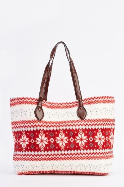 Snowflake Fleece Tote Bag