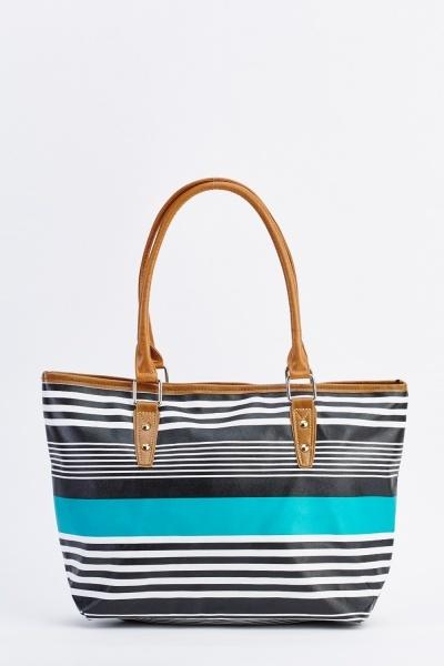 Multi Stripe Faux Leather Tote Bag