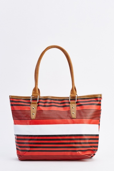 Striped Red Tote Bag