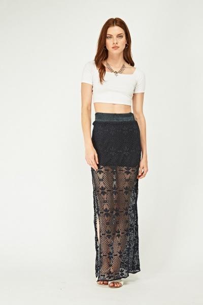 Crochet Overlay Maxi Skirt
