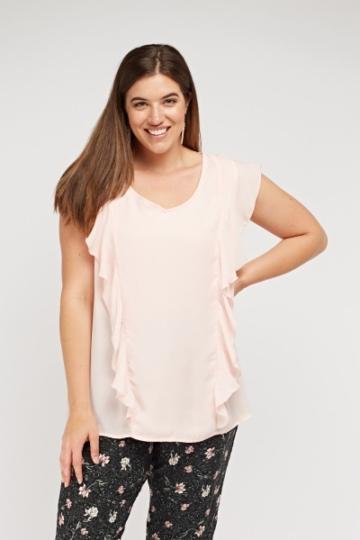 Frilly Sheer Short Sleeve Blouse