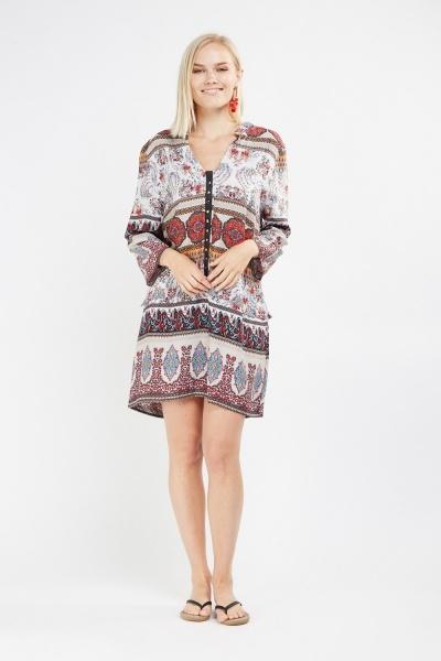 Arabesque Print Tunic Dress