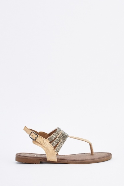 466a9ea60ae0 Encrusted T-Strap Flat Sandals - Beige - Just £5