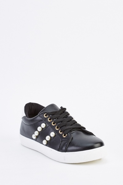 Faux Pearl Side Trainers