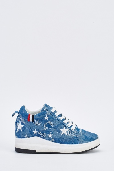 Embroidered Frayed Denim Platform Trainers