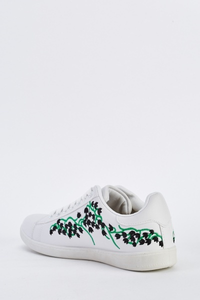 Embroidered Side Low Top Trainers
