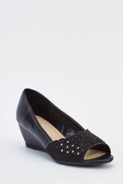 Encrusted Laser Cut Low Wedge Heels