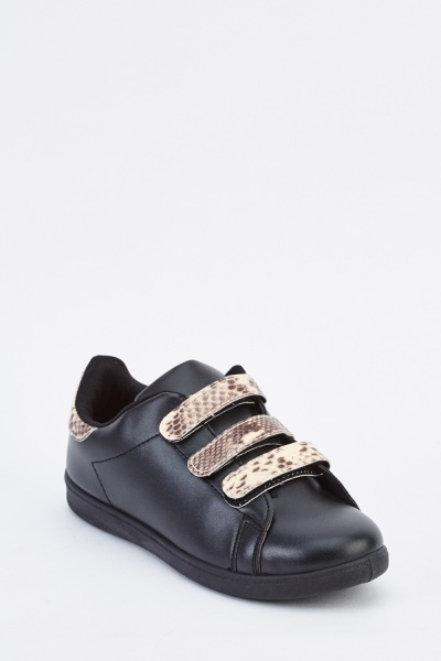 Faux Leather Flat Plimsolls