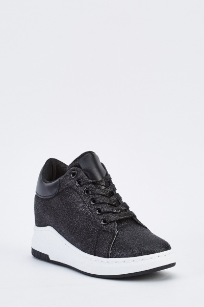 Glittered Lace Up Platform Trainers