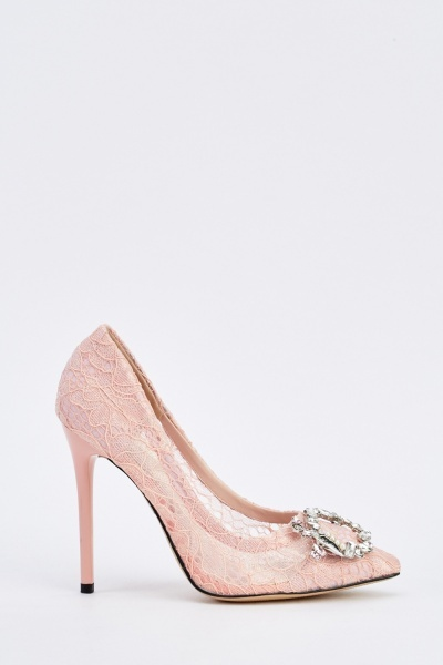 Sequin Embellished Lace Court Heels