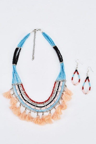 Beaded Tasseled Necklace And Earings Set
