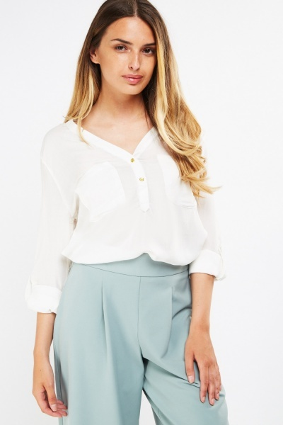 Button Front Sheer Blouse