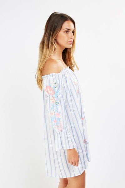 Embroidered Striped Off Shoulder Dress